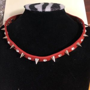 Leather studded necklace or double wrap bracelet